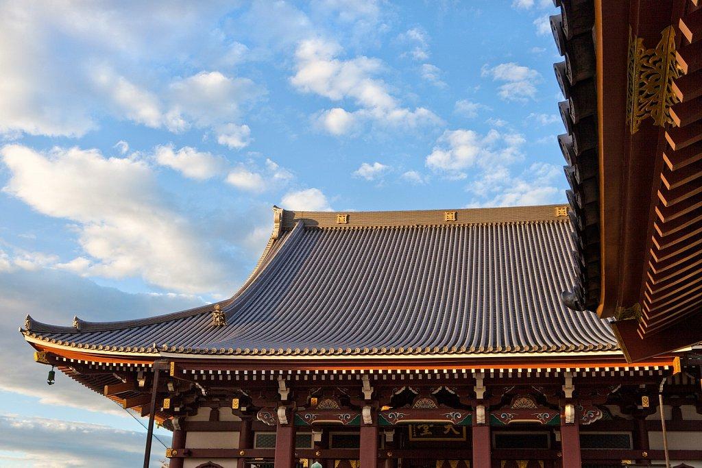 Roof lines of Honmonji Temple in Ikegami, Tokyo, Japan
