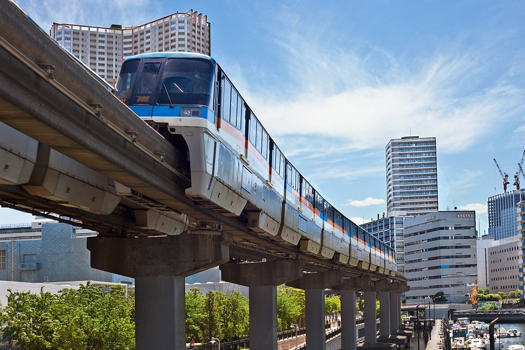 Monorail train from Haneda Airport in Tokyo, Japan