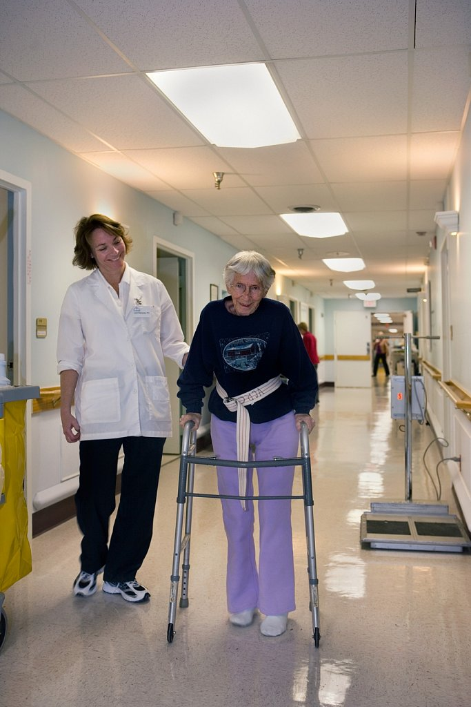 Elderly Patient Receives Physical Therapy