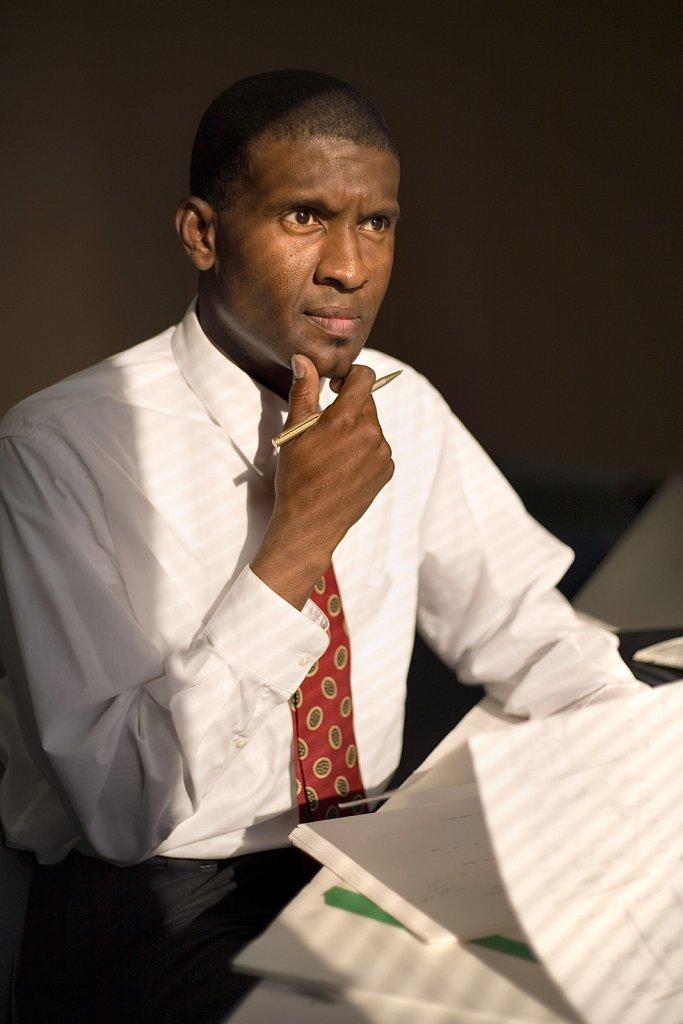 Businessman works at desk