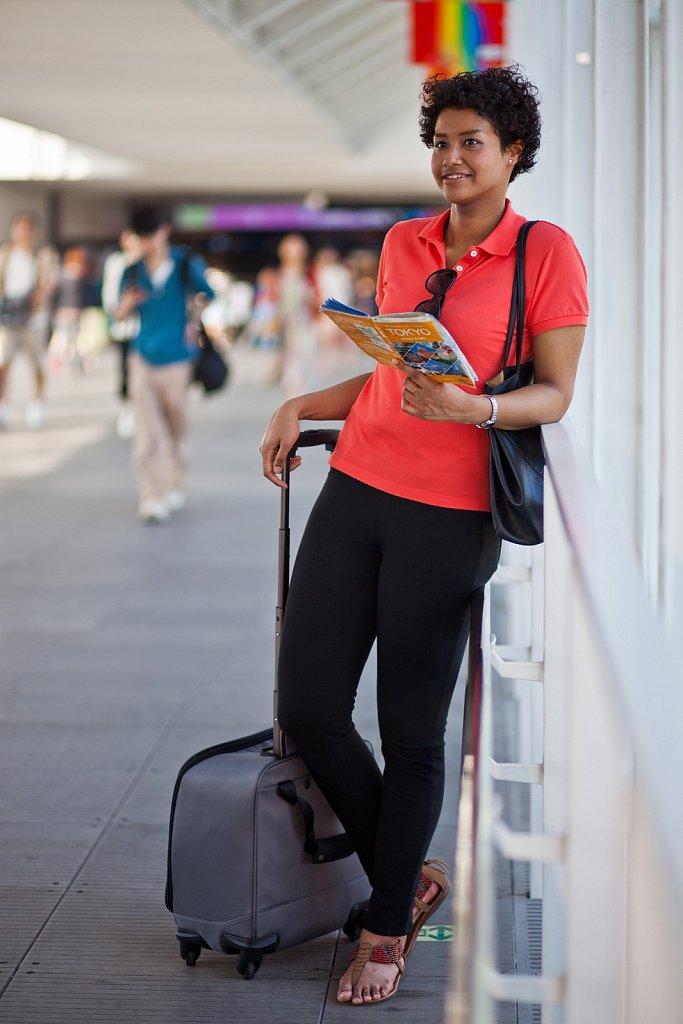 Young woman traveller in Shibuya, Tokyo, Japan