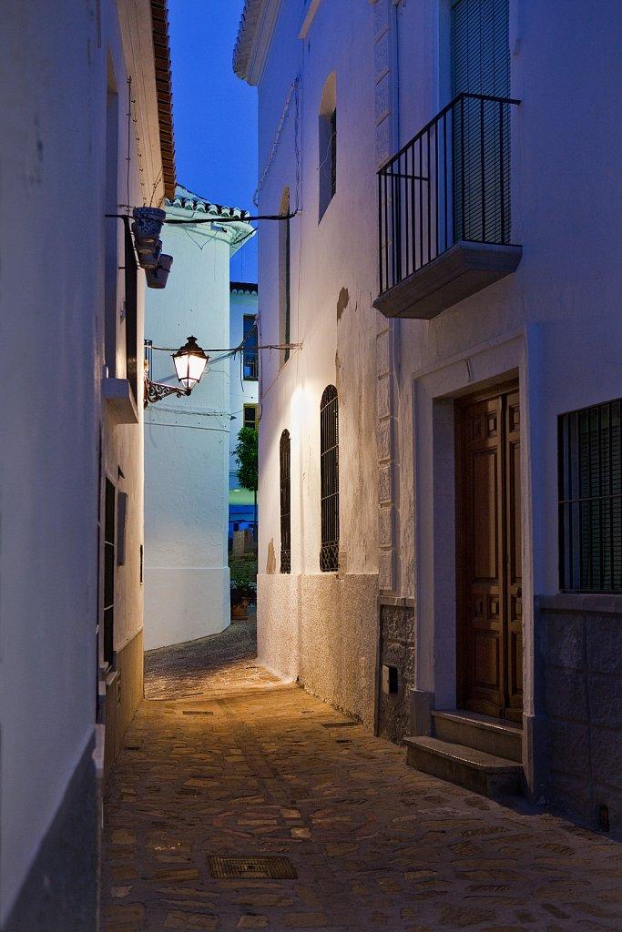 Houses on walkway at dusk in Salobrena, Spain