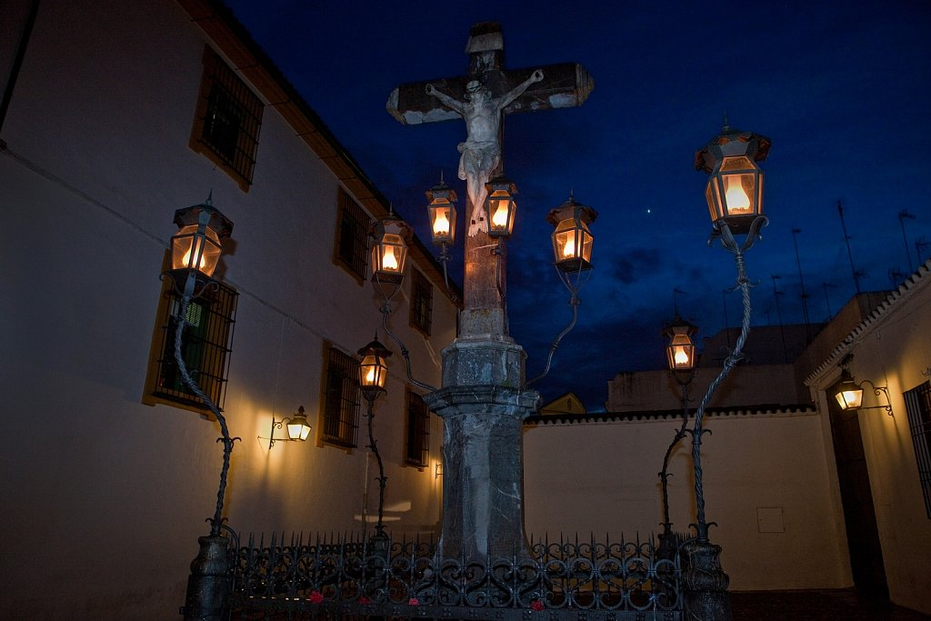 Plaza de Capuchinos, Christ of the Lanterns statue, Christo de los Faroles, Old Quarter, Cordoba, Spain