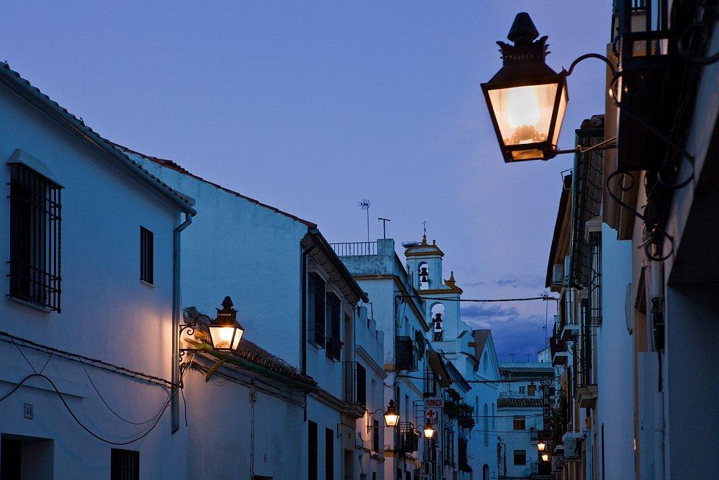 Street scene at dusk in Old Quarter, Cordoba, Spain