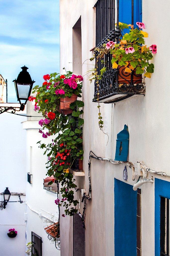 Typical street scene, blue trim, wrought iron bars, geraniums, Salobrena, Spain