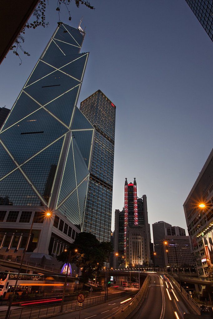 Contemporary architecture of high-rise buildings at dusk at Hong Kong Island, China