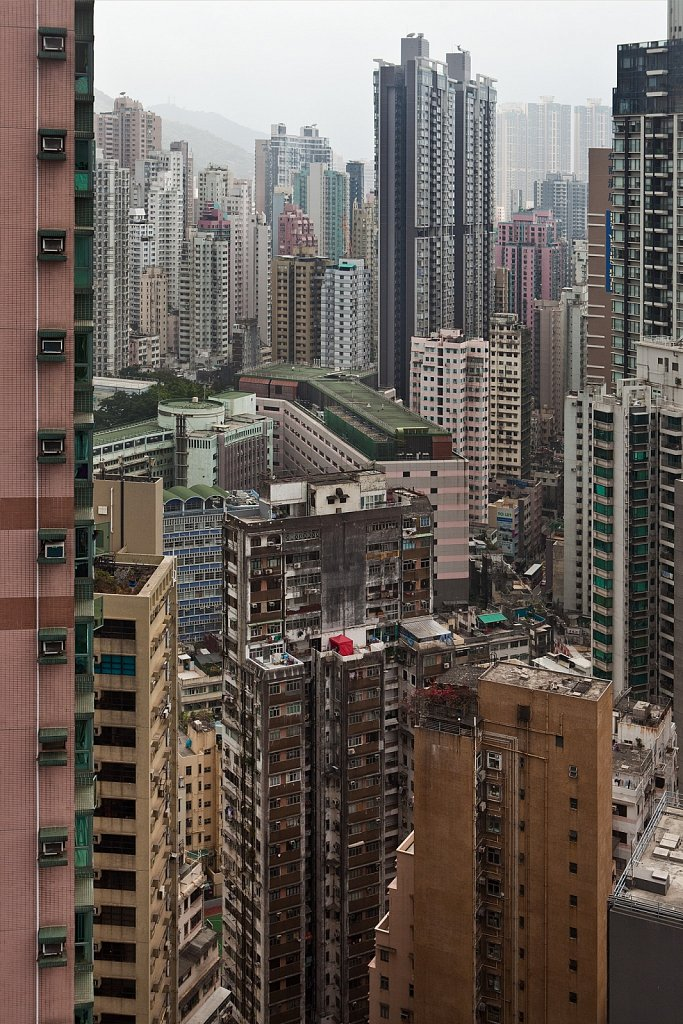 High-rise residential buildings from above, Hong Kong Island, China