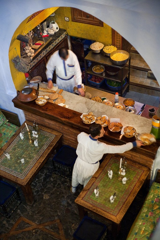 Hotel kitchen from above in Chefchouen, Morocco