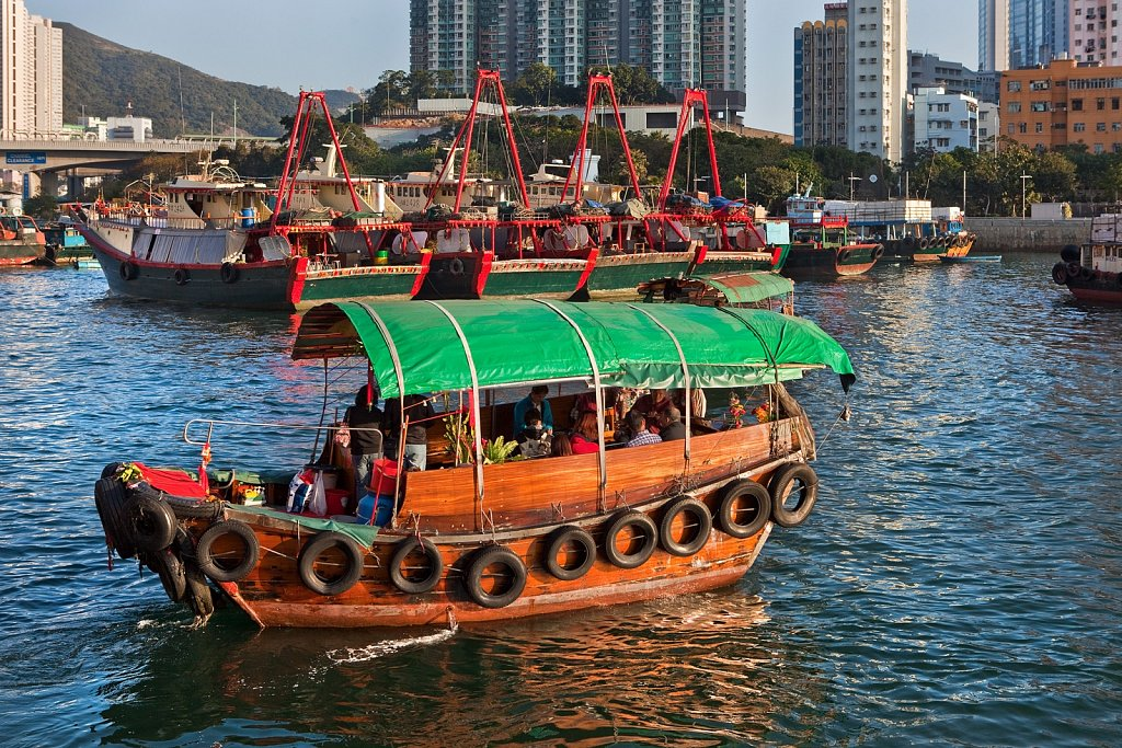 Junks, sampans and commercial fishing boats in Aberdeen, Hong Kong, China