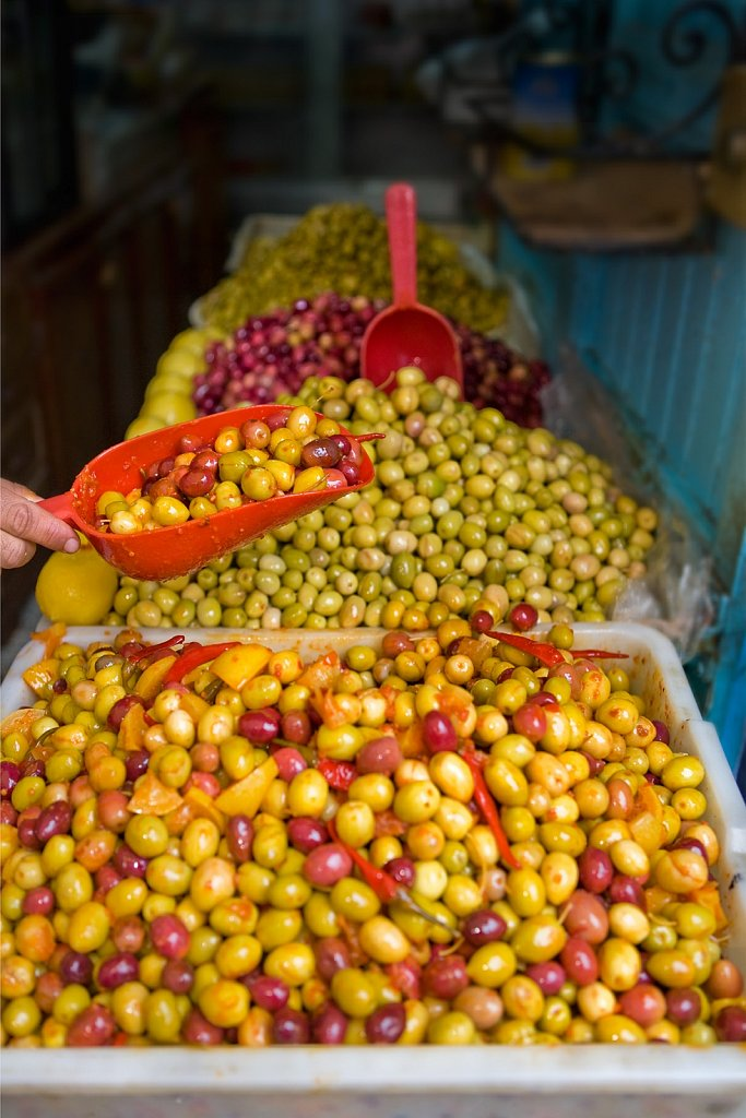 Olive vendor in Chefchaouen, Morocco