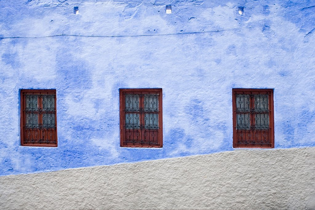 Three windows in Chefchaouen, Morocco