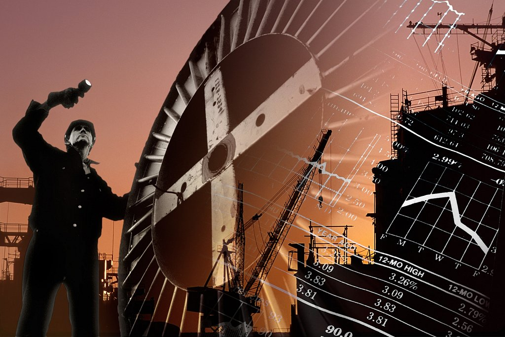 Multiple image of man, cable spool, ship building, graphs
