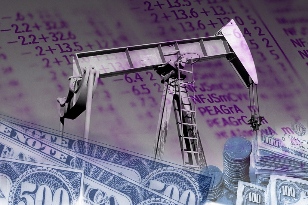 Multiple image of petroleum pump, money, and data