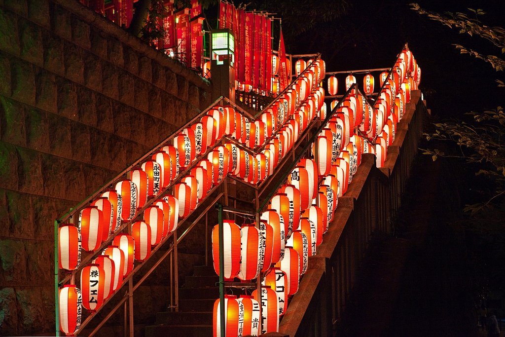 Lanterns at  entrance at Hie Shrine Matsuri in Nagatacho, Tokyo, Japan