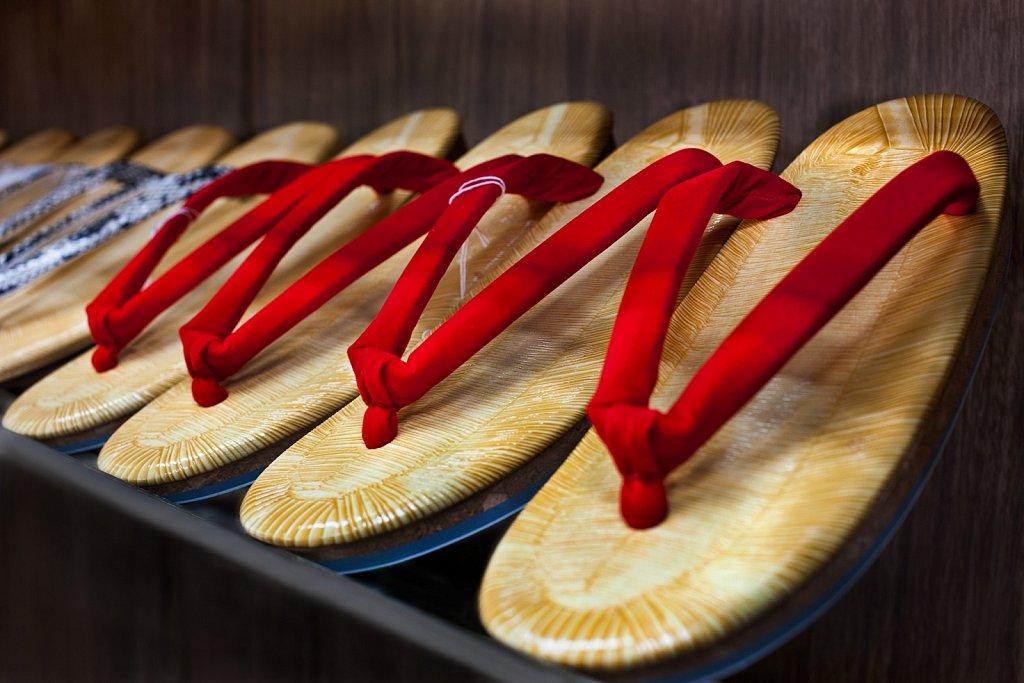 Row of traditional zori sandals in shop, Nakaikegami, Tokyo, Japan
