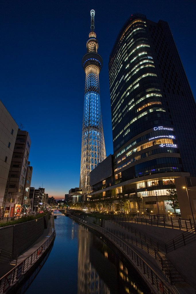 Tokyo Sky Tree and Solamachi shopping dining center at dusk in Oshiage, Tokyo,  Japan