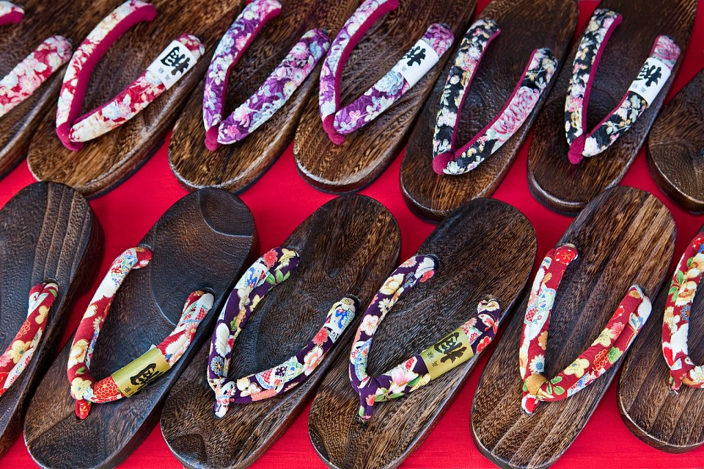Wooden sandals for sale in Yufuin, Oita, Japan