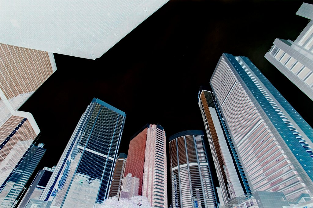 Contemporary architecture of high-rise buildings invert in Hong Kong Island, China