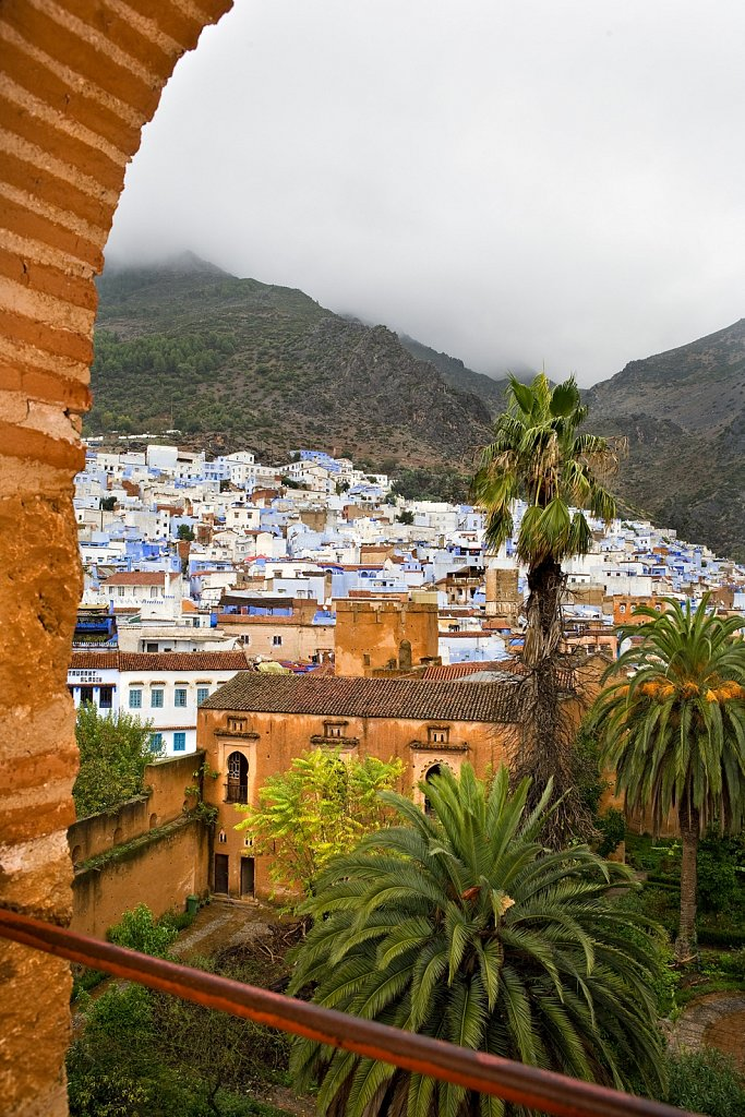 View from archway in Kasbah, Chefchaouen, Morocco