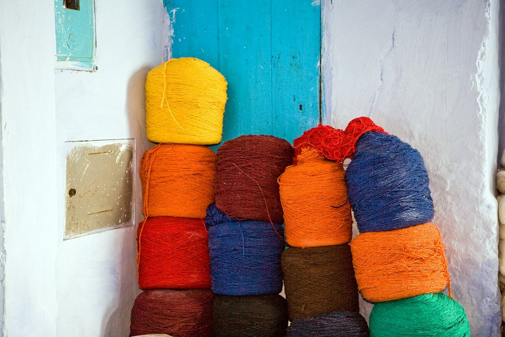 Wool thread in Chefchaouen, Morocco